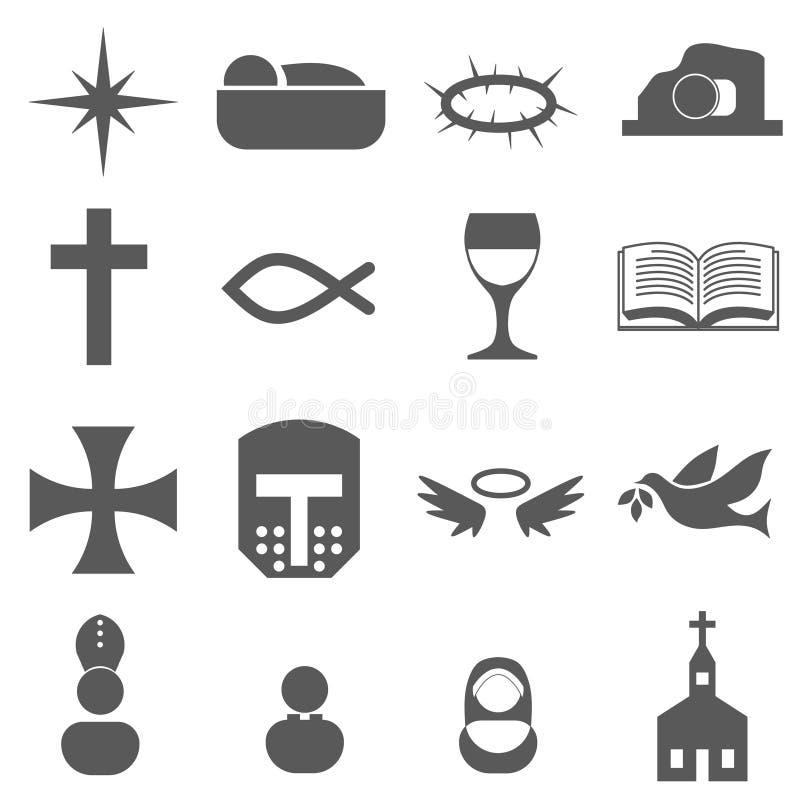 Christelijke pictogramreeks stock illustratie