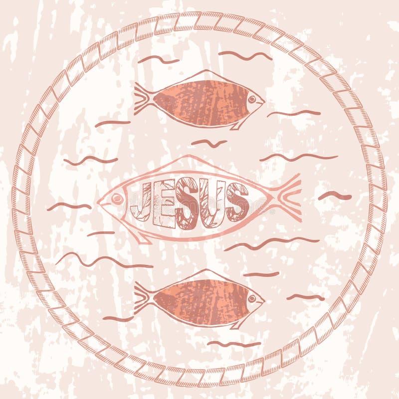 Christelijke symboolvissen stock illustratie