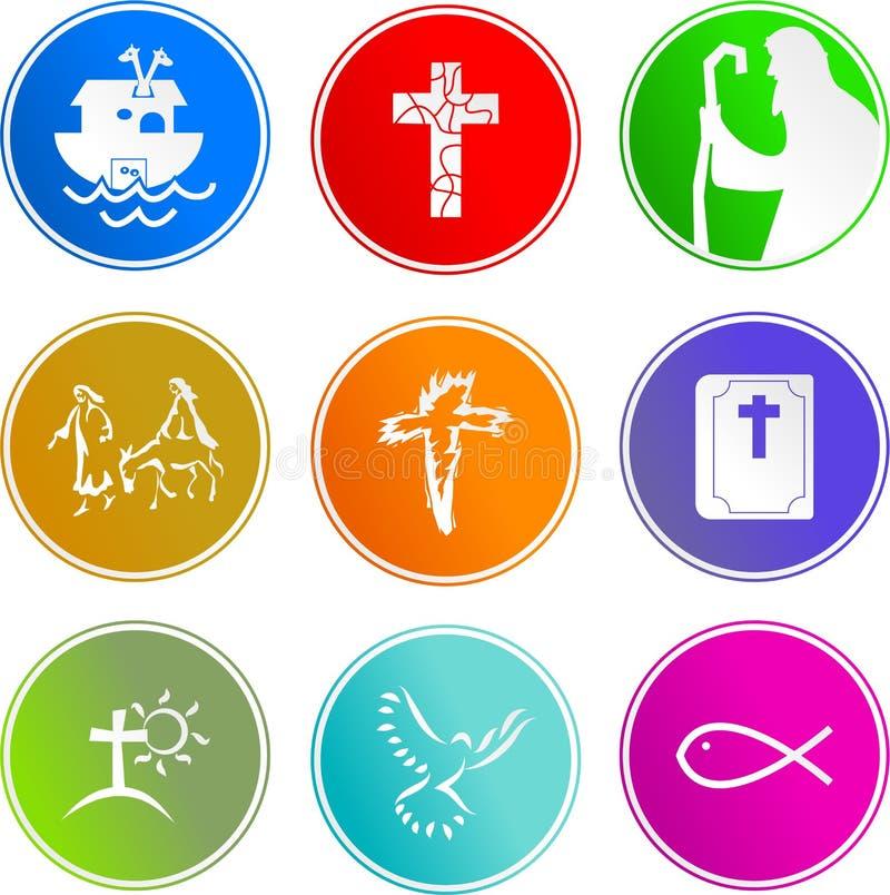 Christelijke tekenpictogrammen royalty-vrije illustratie
