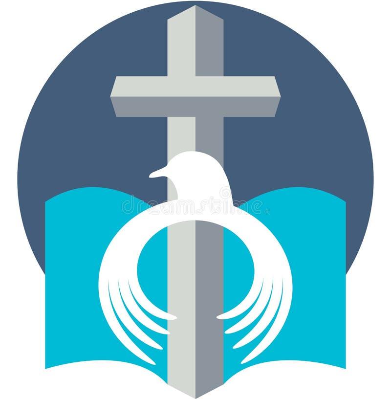 Christelijke vredesduif met dwarsembleem stock illustratie