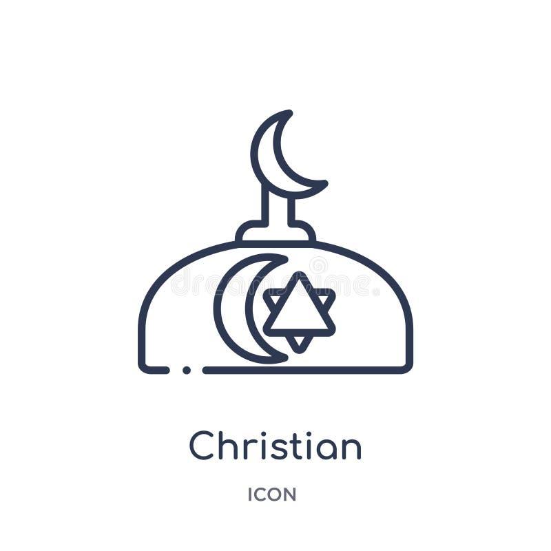 christen opnieuw gevormd kerkpictogram van de inzameling van het godsdienstoverzicht Het dunne pictogram van de lijn christelijke stock illustratie