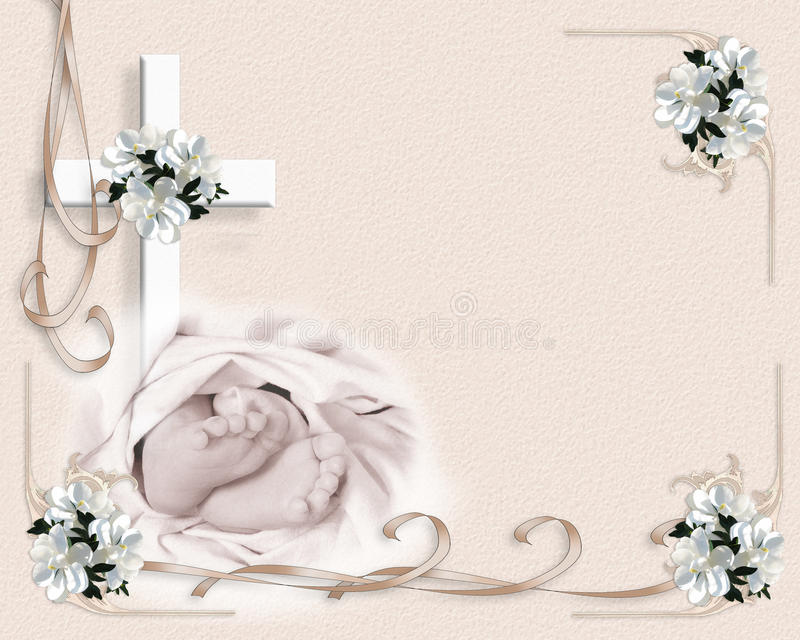 Christening Baptism invitation. Image and illustration composition for baby baptism or christening invitation template border with baby feet, cross, ribbons and royalty free illustration