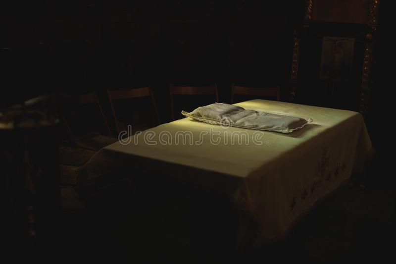Christening in an Orthodox Church, table for new born baby stock images