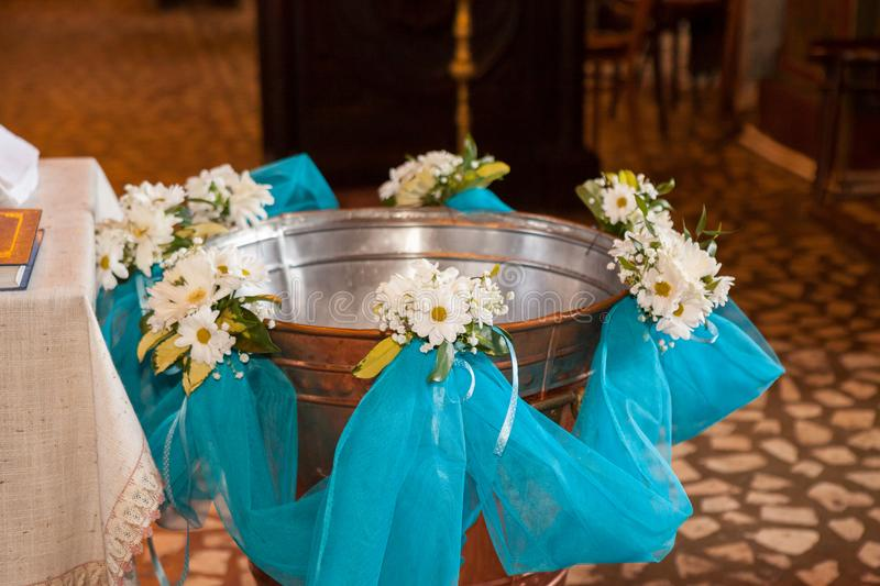 Christening font in an orthodox church royalty free stock photo