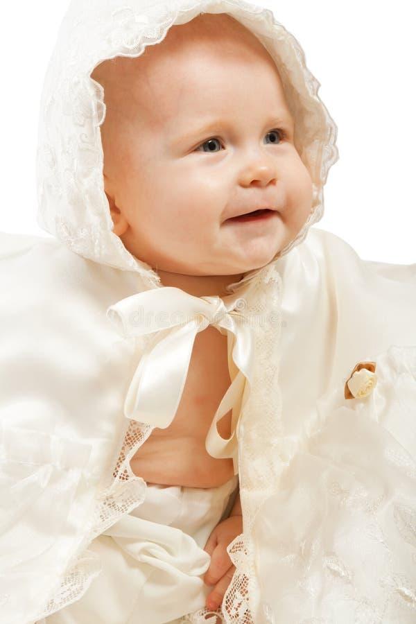 christeningkappaspädbarn royaltyfria bilder