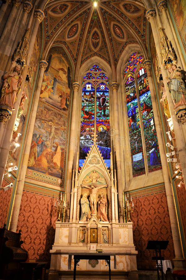Christian altar in a cathedral in Vienna stock photo