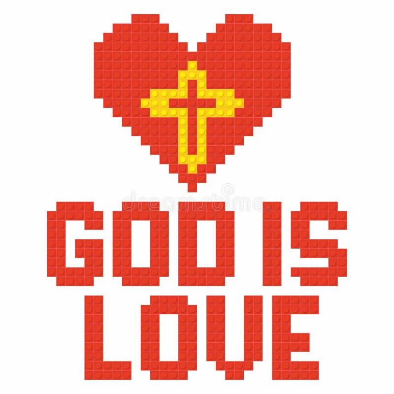 Christian Art Kleurrijke met elkaar verbindende plastic bakstenen, plastic bouw De god is liefde stock illustratie