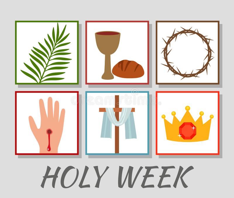 Christian banner Holy Week with a collection of icons about Jesus Christ. The concept of Easter and Palm Sunday. flat royalty free illustration