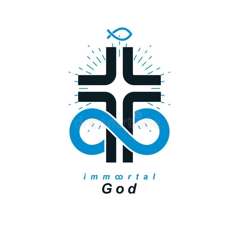 Christian Belief eterno en desig creativo del símbolo del vector de dios stock de ilustración