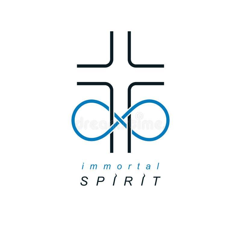 Christian Belief eterno en el diseño creativo del símbolo del vector de dios, combinado con el lazo sin fin y Christian Cross del libre illustration