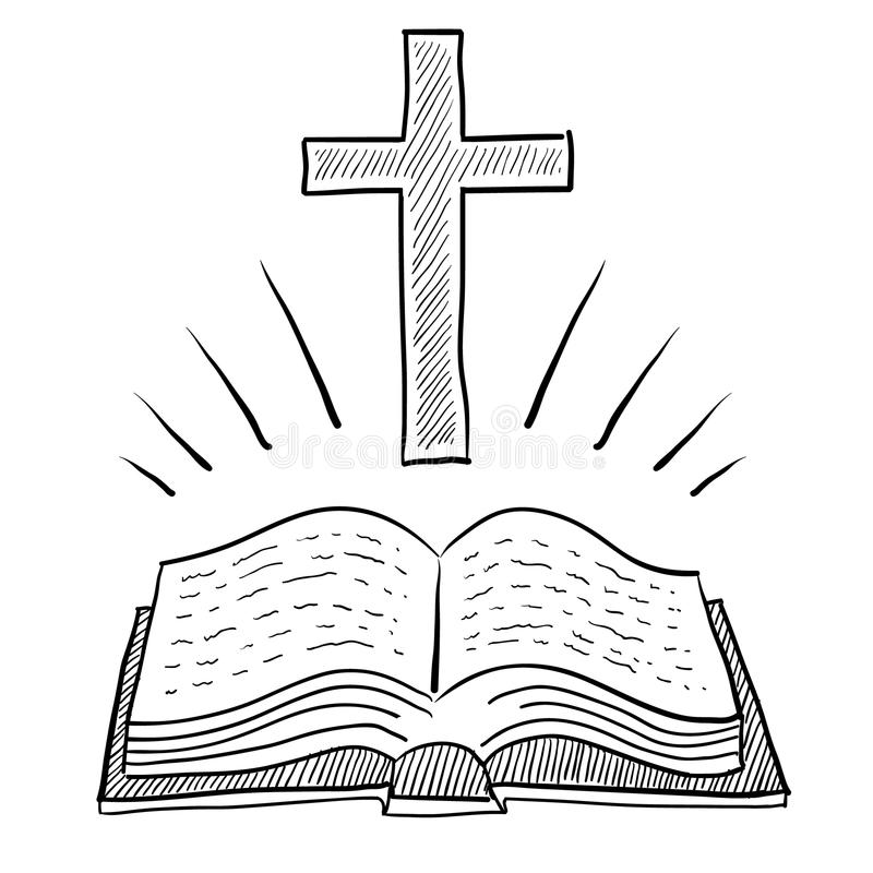 Simple Cross Line Art : Christian bible and cross drawing stock vector