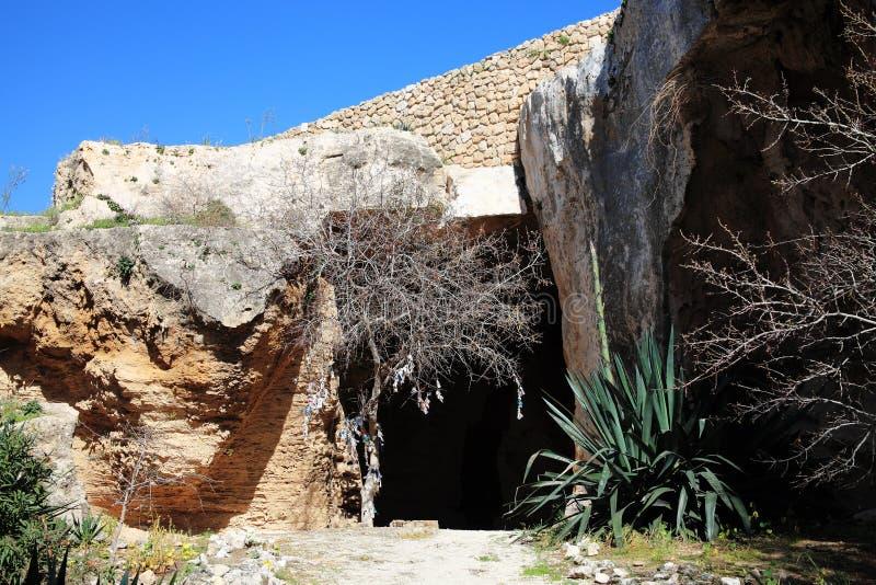 Christian Catacombs no monte de Fabrica, Paphos, Chipre, foto de stock royalty free