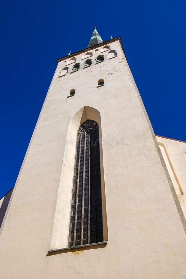 Christian Cathedral Church della st Olaf, Oleviste, a Tallinn, l'Estonia Dal 1267 fotografia stock libera da diritti