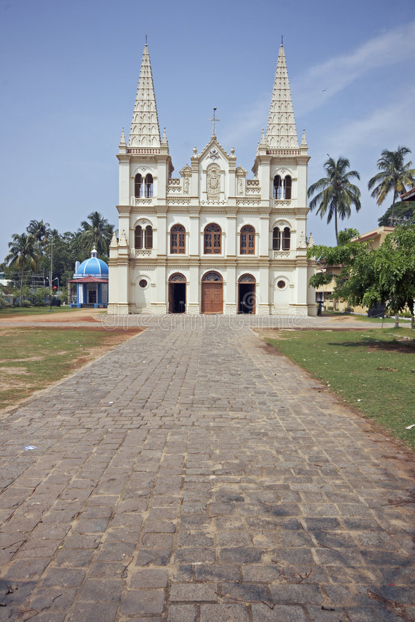 Christian Cathedral in India. Santa Cruz Cathedral, Fort Kochi, Kerala, India. 16th century stock photo