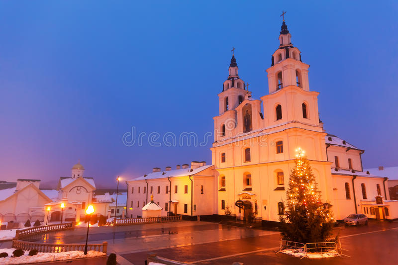 Christian cathedral in Minsk, Belarus. Evening view of Christian cathedral in Minsk, Belarus royalty free stock image