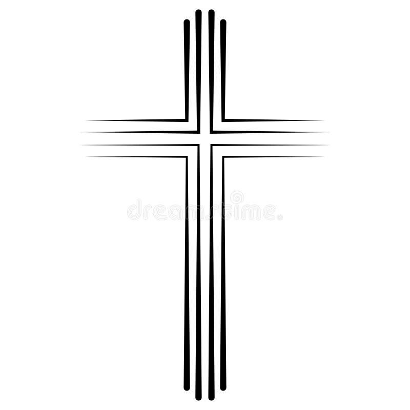 Christian Catholic croisent la conception plate d'icône, baptême croisé d'icône de vecteur Crucifix chrétien linéaire abstrait illustration de vecteur