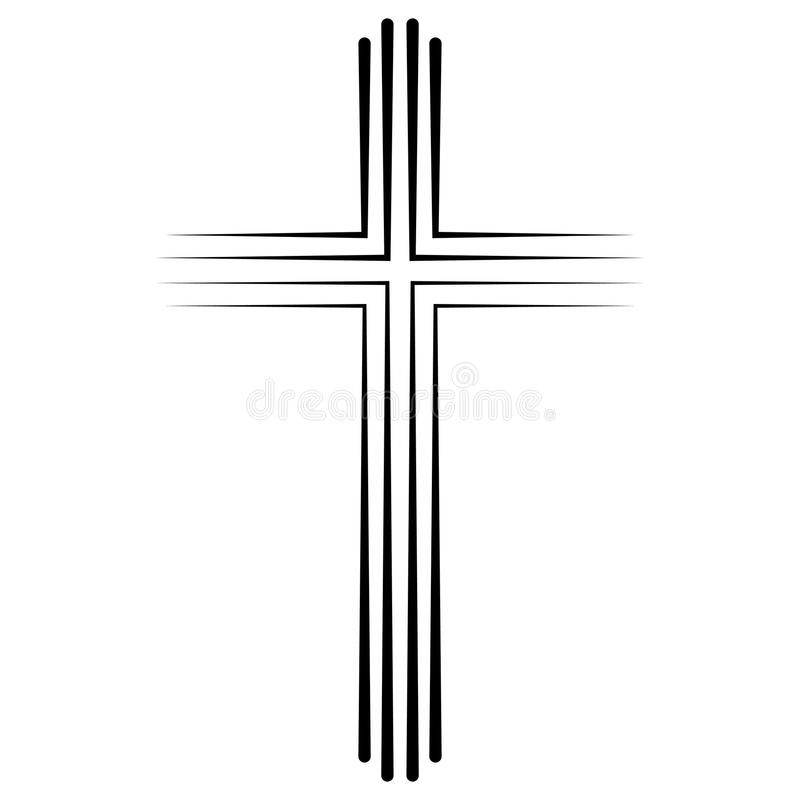 Christian Catholic cruza o projeto liso do ícone, batismo transversal do ícone do vetor Crucifixo cristão linear abstrato ilustração do vetor