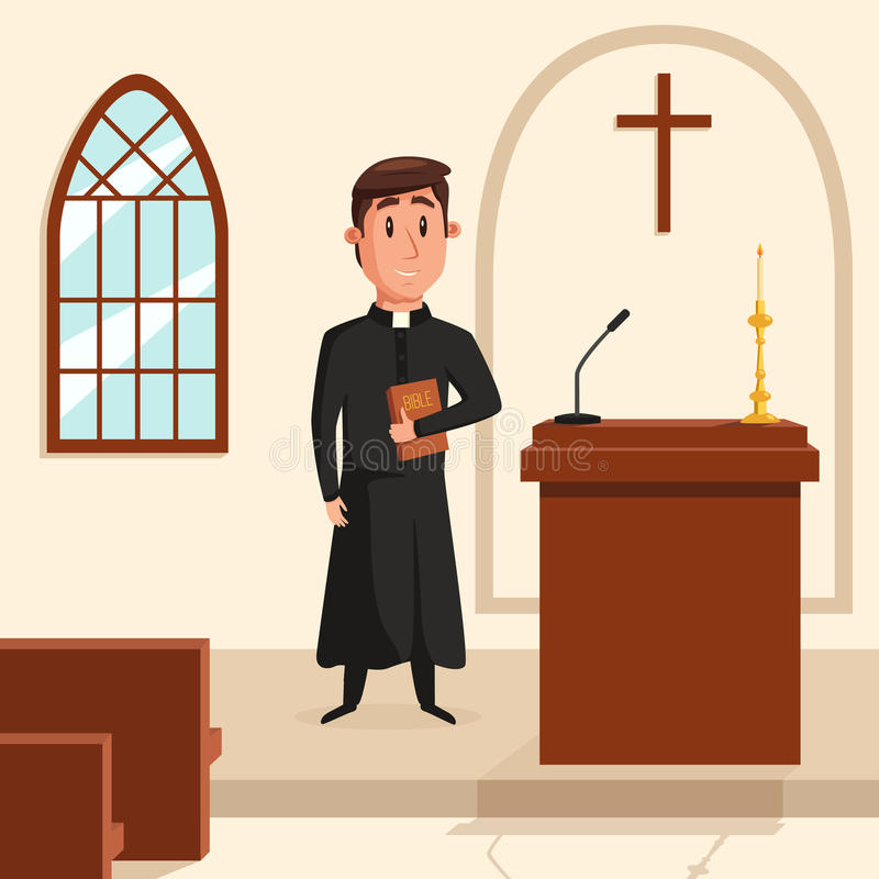 Christian catholic priest preaching at church. Holy father in robe or pastor with collar, pope with bible and clergyman vector illustration