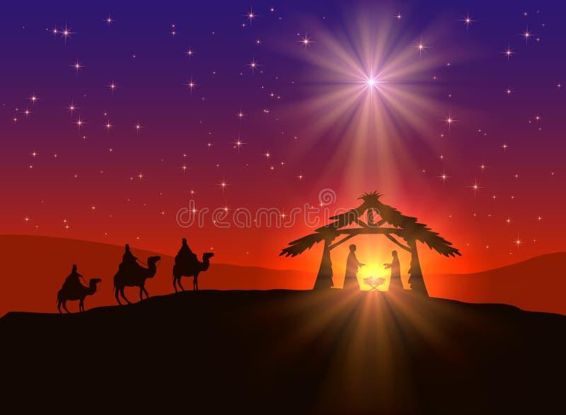 Christian Christmas-achtergrond met ster royalty-vrije illustratie