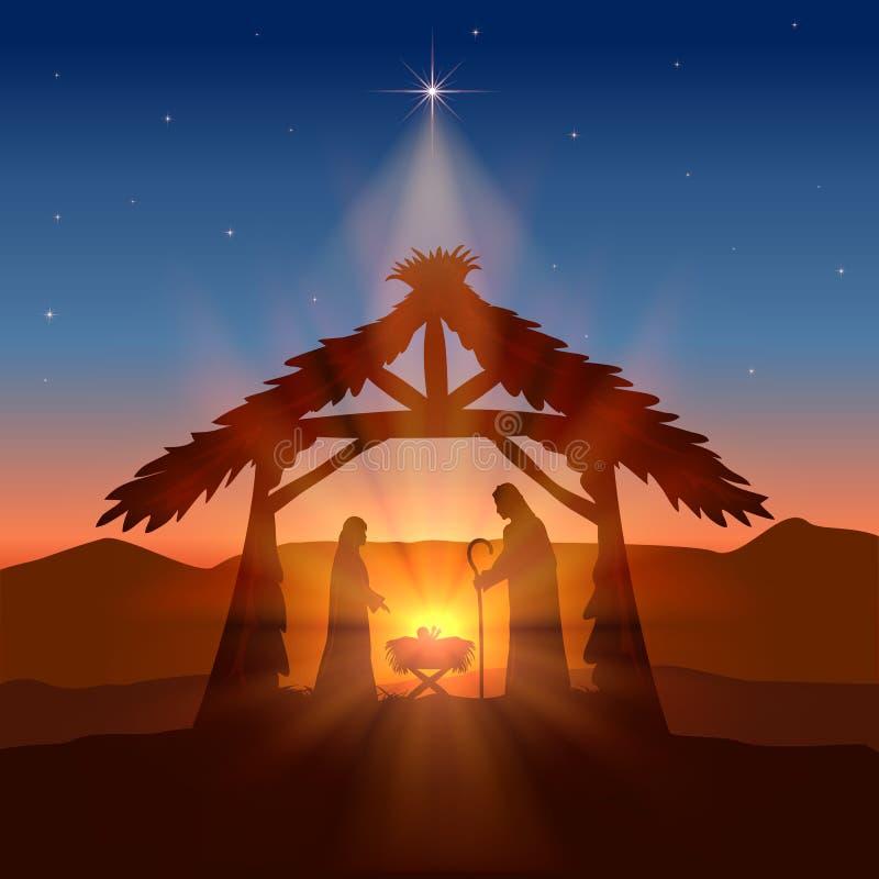 Christian Christmas com nascimento de Jesus e da estrela ilustração do vetor