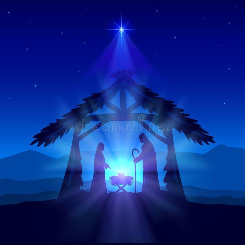 Christian Christmas con la nascita di Gesù e della stella su fondo blu illustrazione di stock