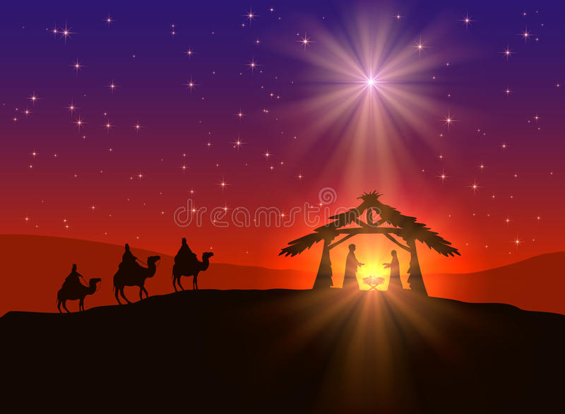 Christian Christmas-Hintergrund mit Stern lizenzfreie abbildung