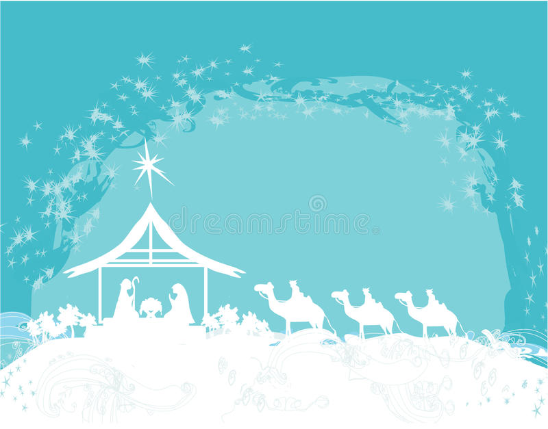 Christian Christmas nativity scene of baby Jesus in the manger stock illustration