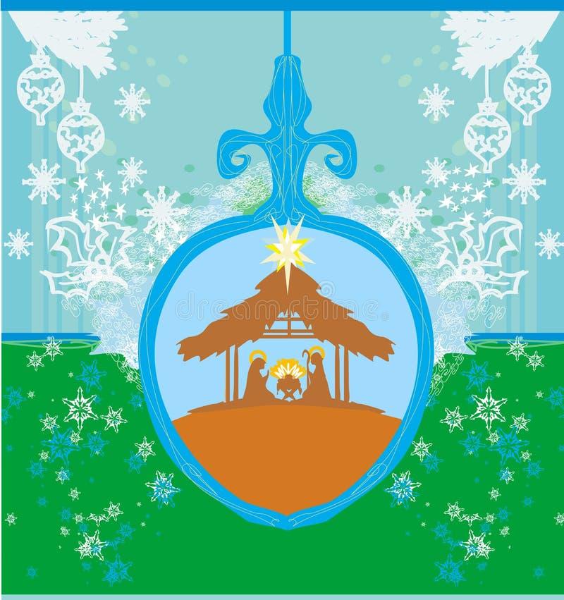 Christian Christmas nativity scene of baby Jesus stock illustration