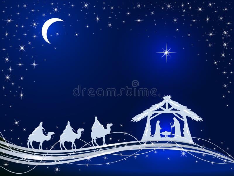 Christian Christmas no fundo azul com nascimento de Jesus e de S ilustração do vetor