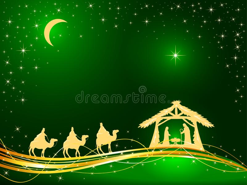 Christian Christmas no fundo verde com nascimento de Jesus e da estrela ilustração royalty free