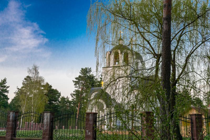 Christian church against blue sky and willow branches. Through willow branches stock image