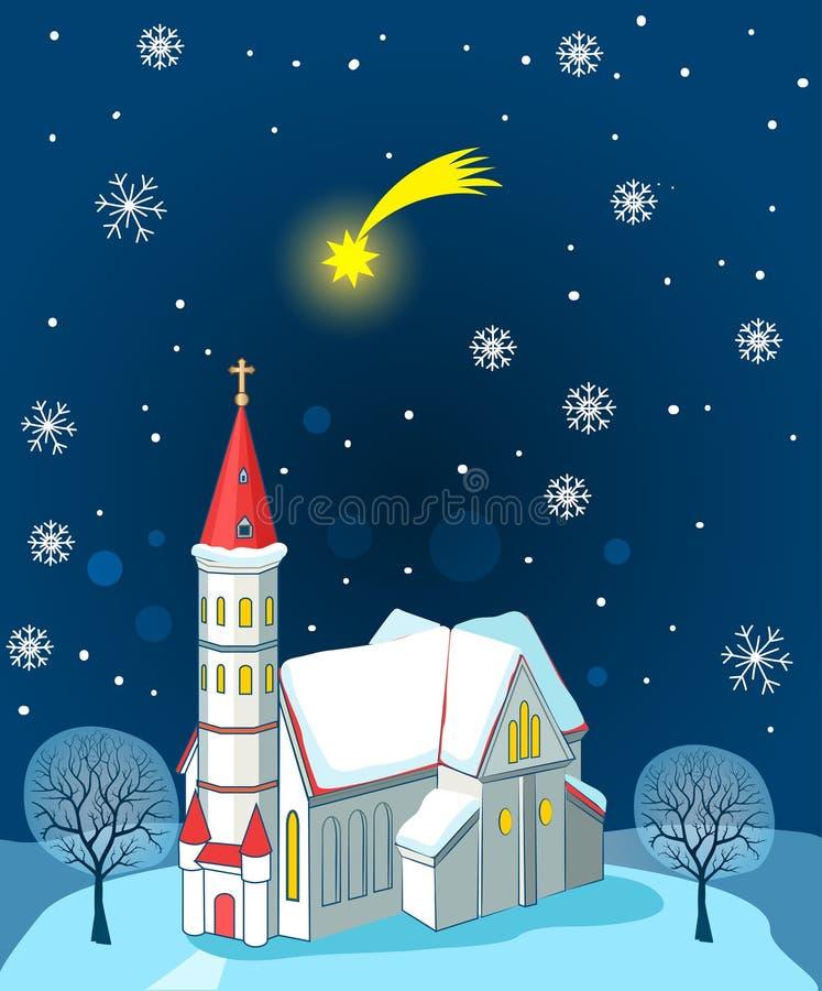 Christian Church And Christmas Star Paesaggio di inverno Carta dell'illustrazione di vettore Christian Church Near Me illustrazione vettoriale