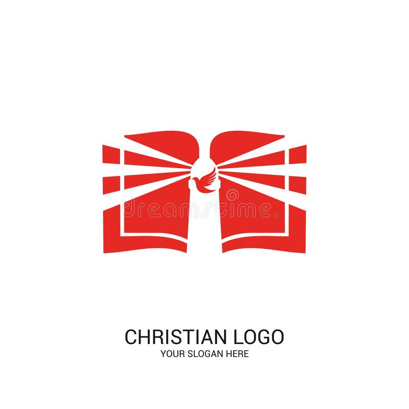 Free Christian Church Logo. Bible Symbols. The Open Bible, God`s Lighthouse And Dove Royalty Free Stock Images - 139163719