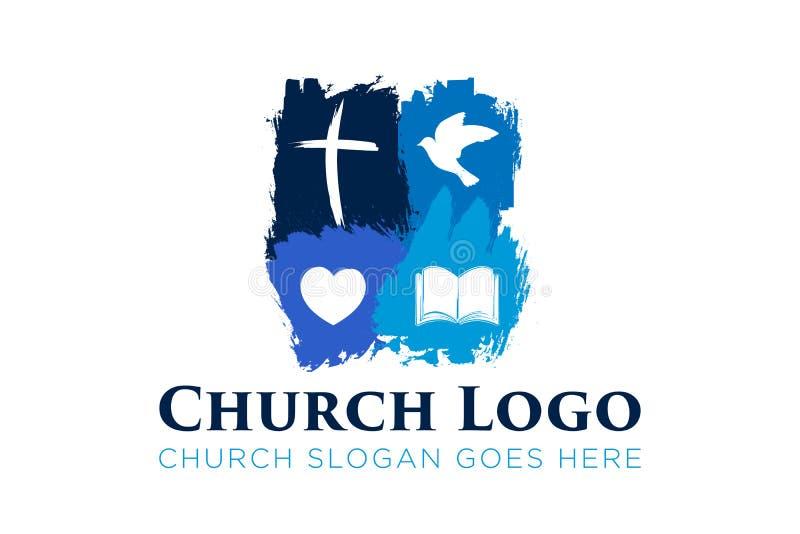 Christian Church Logo Design con la cruz, la paloma, el hogar y la biblia stock de ilustración
