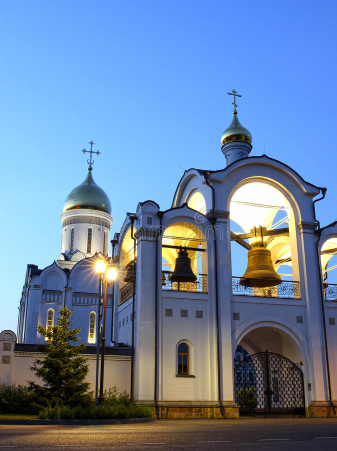 Christian church at night. By the light of lanterns royalty free stock photos