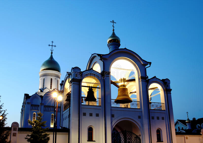 Christian church. Christian orthodox church at night in the light of lanterns stock images