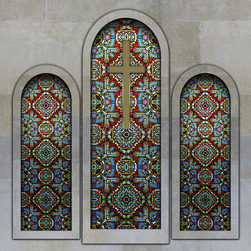 Download Christian Church Stained Glass Windows Stock Illustration