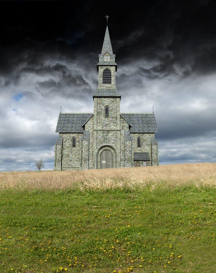 Christian Church surreal, tempestade, nuvens imagens de stock