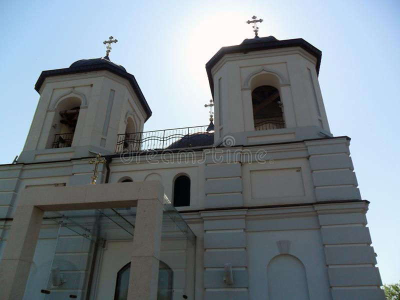 Christian church with two domes,bottom view royalty free stock image