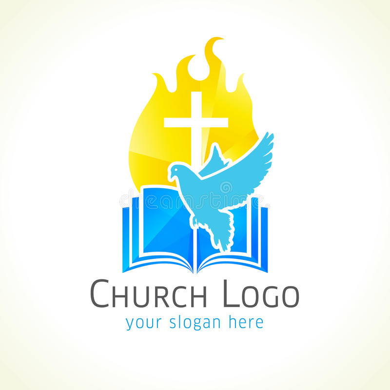 Christian church vector logo. Golden glowing crucifix, fire, dove, bible. Fiery flaming shining crucifixion gold colored. Light, flying bird, broken glass royalty free illustration