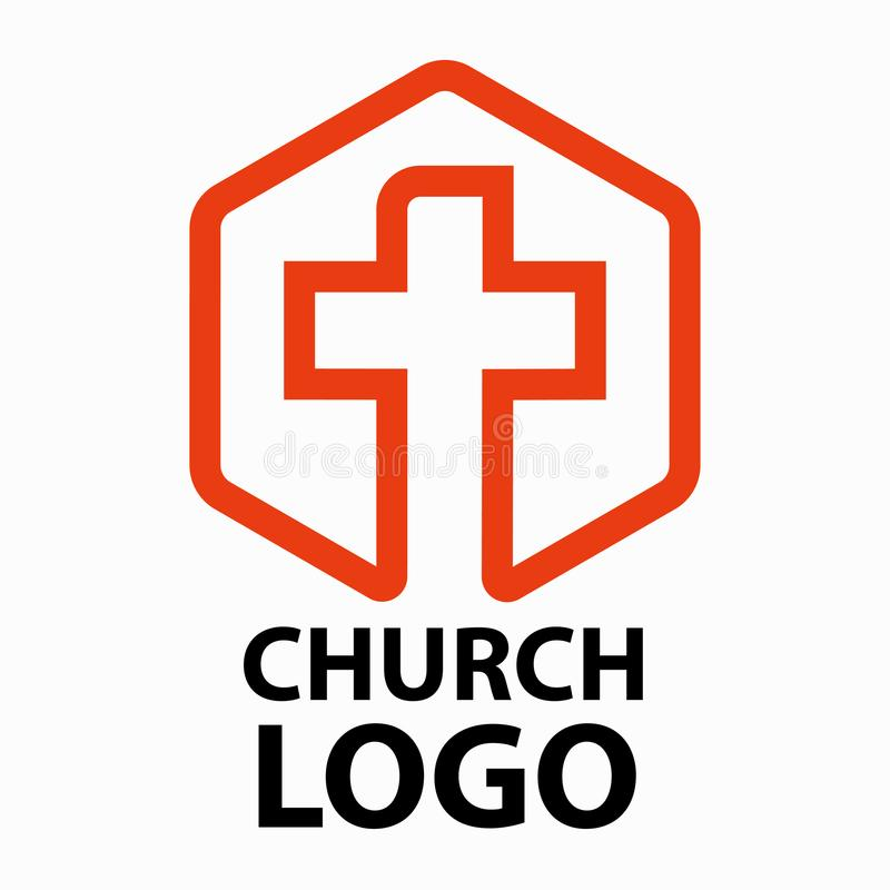 Christian churches logo line art in the form of a cross intended for christian religious organizations. royalty free illustration