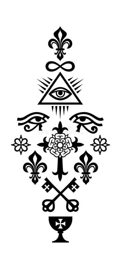 CHRISTIAN COLUMN (Symbols of Faith) vector illustration