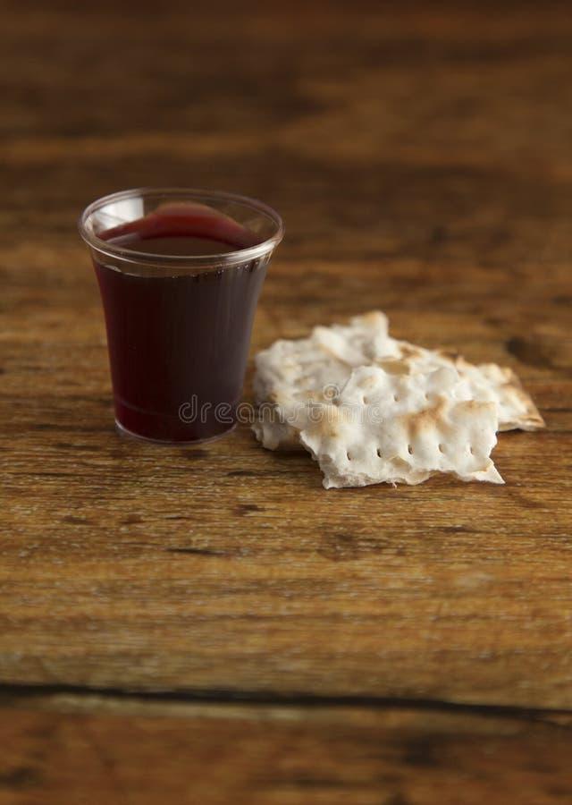 Christian Communion del vino y del pan ácimo imágenes de archivo libres de regalías