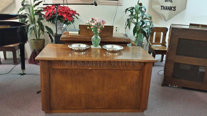 Christian Communion Table With Offering Plates Stock Photo ...