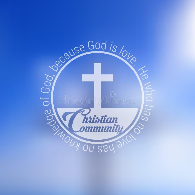 Christian Community Emblem con la sacra scrittura più l'incrocio vago su un cielo blu illustrazione vettoriale