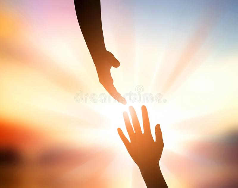 International Peace Day Concept: God`s hand for help stock photo