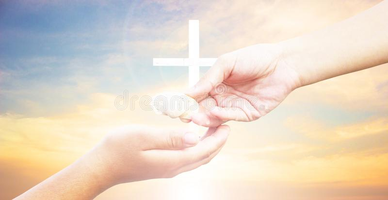 Silhouette cross on Calvary mountain sunset background. Easter concept stock photos