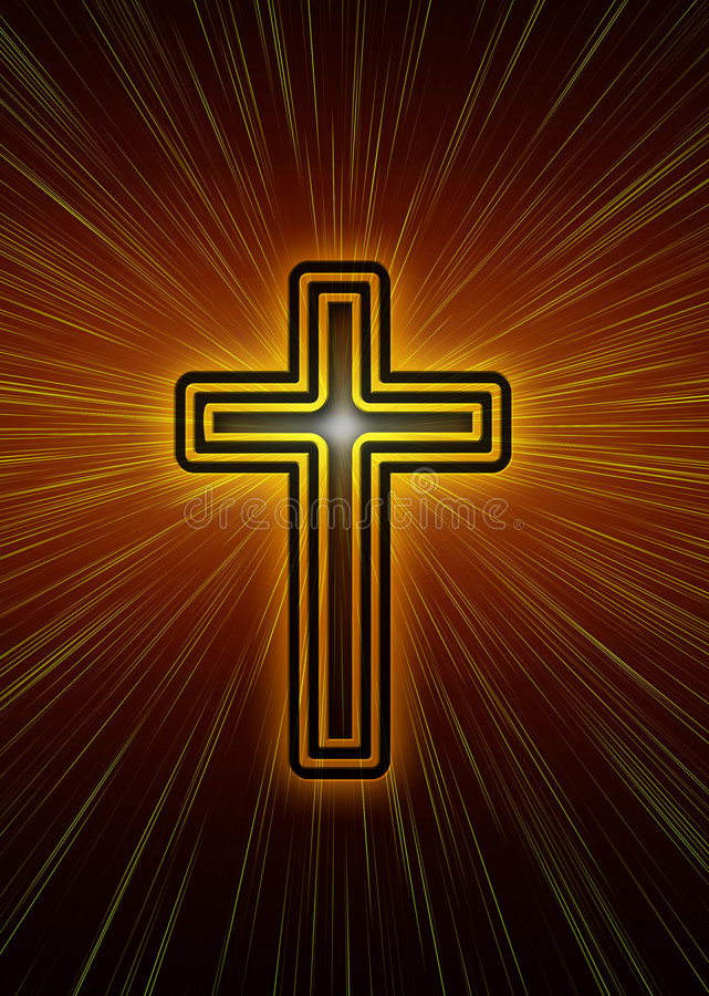 Christian cross. With rays of light and a flare royalty free illustration