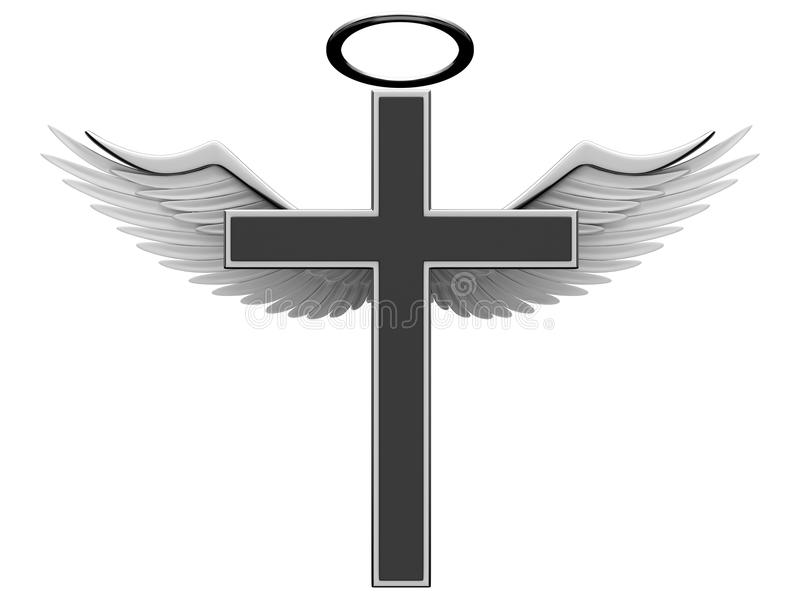 Christian Cross And Angel Wings Stock Illustration ...