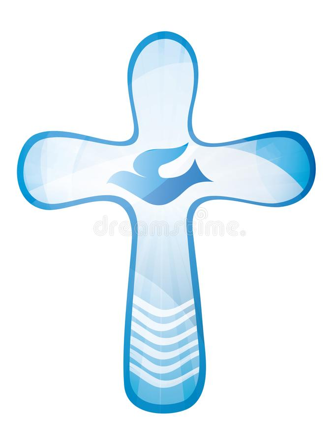 Christian Cross Baptism Holy Spirit Symbol With Dove And Sea Stock